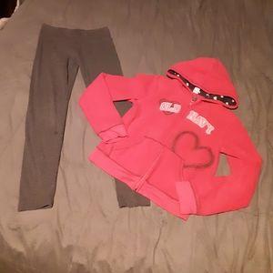 Old Navy girls 10/12 hoodie with Justice leggings